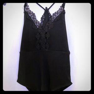 Top shop lace spandex bodysuit black